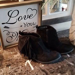 Girls Black Fringe Suede Ankle Boots